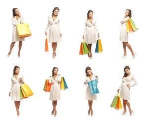 A collage of women in a white dress holding shopping bags