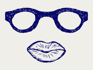 Glasses and lips silhouettes. Doodle style