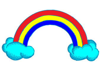 Rainbow and clouds in the sky. Doodle style