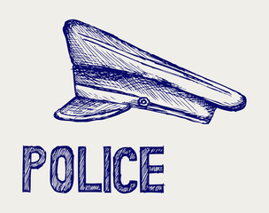 Police cap. Doodle style