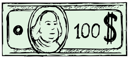 Hundred dollar bill. Doodle style
