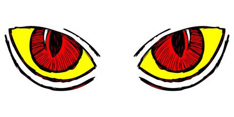 Wild cat eyes. Doodle style