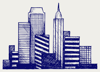 Panoramic city. Doodle style