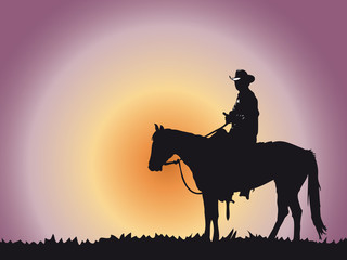 Zelfklevend Fotobehang Diepbruine cowboy