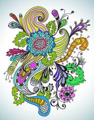 Romantic hand drawn floral ornament