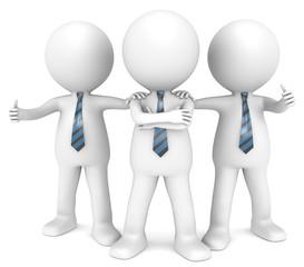 The Dream Team. 3D little human character the Business Man x3.