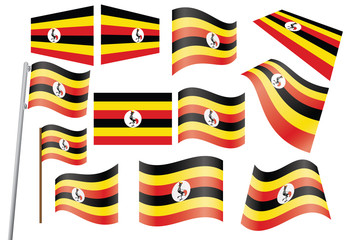 set of flags of Uganda vector illustration