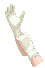 Hands in sterile gloves.