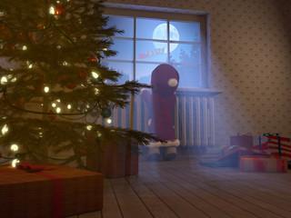 Kleines Mädchen beobachtet Weihnachtsmann aus kinderzimmer 3D