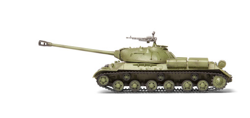 plastic model of soviet heavy tank isolated on white background