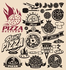 Pizza icons, labels, signs, logo designs and design elements