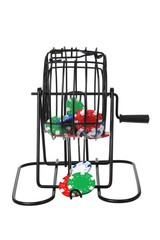 Bingo Game Cage with Poker Chips