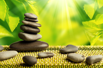 green eco background with spa stones and leaves