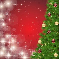 ベクター、クリスマスツリーと輝く光の赤い背景