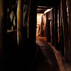 Fototapete - Mine with railroad track - underground mining