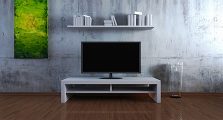 Entertainment cabinet in front of concrete wall