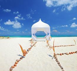 Wedding tent on a beach at Maldives island