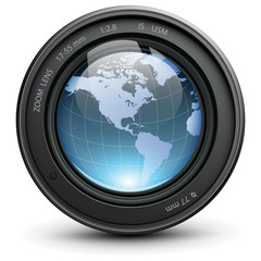 Camera photo lens with earth globe inside, vector.