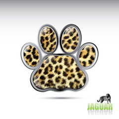 Jaguar leopard paw button