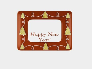 Happy New Year, Merry Christmas, photo frame,postcard