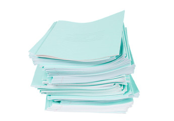 Heap of blue notebooks