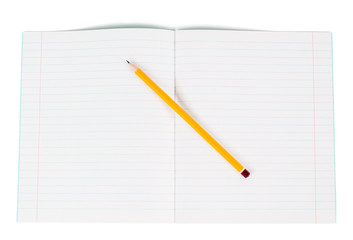 Lined notebook and pencil