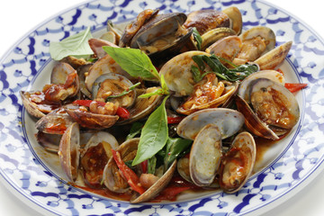 stir fried clams with roasted chili paste and thai sweet basil