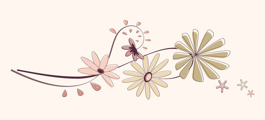 Floral background in the beige