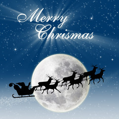Christmas card design Santa riding deers on full blue moon
