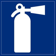 Fototapete - Schild blau - Feuerlöscher