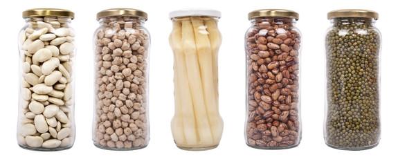 legumbres y vegetales envasados