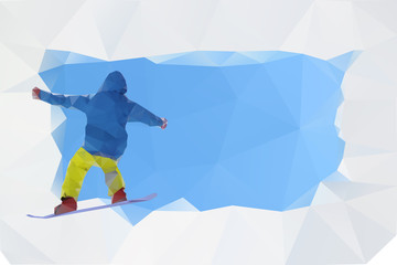 snowboard abstract poster, vector illustration