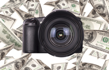 Photo camera with money