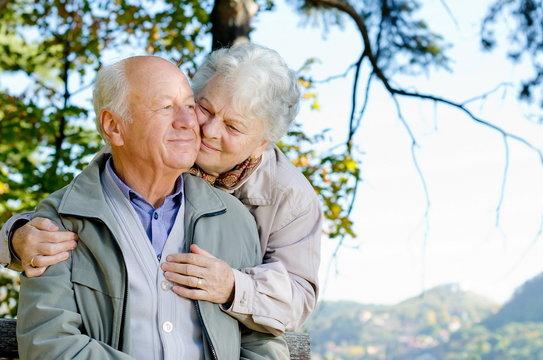 Beautiful senior couple in the park