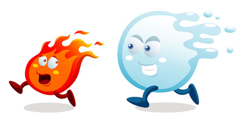 illustration of cartoon fire and water running