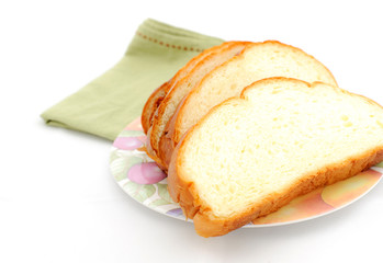 Slice of bread on the plate.
