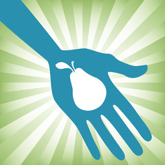 Hand holding an pear design.