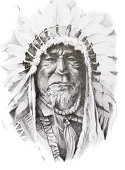 Wall Mural - Tattoo sketch of Native American Indian chief, hand made