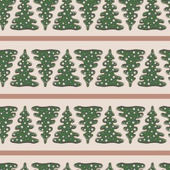 Christmas seamless pattern with snowflakes and fir trees