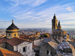 Bergamo, view from city hall tower, Lombardy, Italy Wall mural