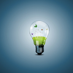 Electric light bulb and a plant inside it
