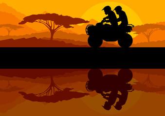 All terrain vehicle quad motorbike riders in wild nature landsca