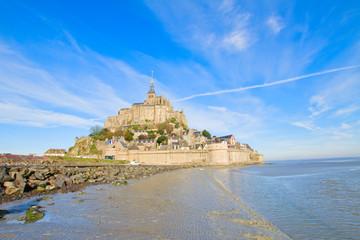 Mont Saint Michel over sea tide , France