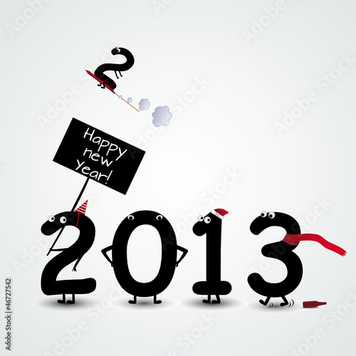 funny happy new year numbers card\