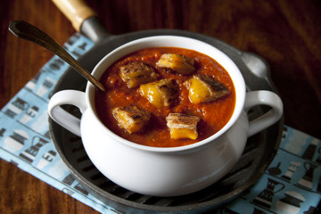 Grilled Cheese Croutons and Tomato Soup