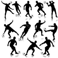 Soccer man silhouette set eps10 vector illustration