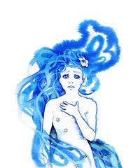 Hand-painted astonished and sad girl