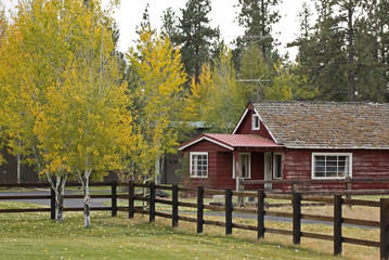Vintage wooden red ranch house with autumn foliage