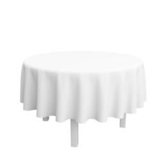 Empty white round table.
