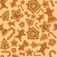 seamless vector background with gingerbread figures